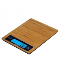 Get your weigh. An eco-friendly bamboo scale makes cooking and baking an exact science, converting between pounds and grams for precision in the kitchen. Portion your meals and make the most of each ingredient with the easy-to-use add and tare features.