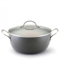 Perfect for creating pasta dishes, risotto and more, this heavy-gauge, hard-anodized dutch oven provides consistently exceptional cooking results. It's a pro at resisting hot spots for even cooking, while its patented TOTAL Hi-Low Food Release system outlasts all other nonsticks -- guaranteed! Limited lifetime warranty.